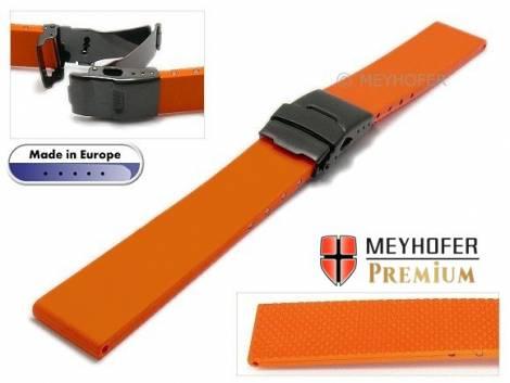 Watch strap -Wismar- 18mm orange caoutchouc with black clasp by MEYHOFER (width of buckle 18 mm) - Bild vergrößern