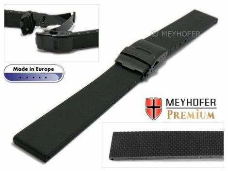 Watch strap -Wismar- 24mm black caoutchouc with black clasp by MEYHOFER (width of buckle 20 mm) - Bild vergrößern