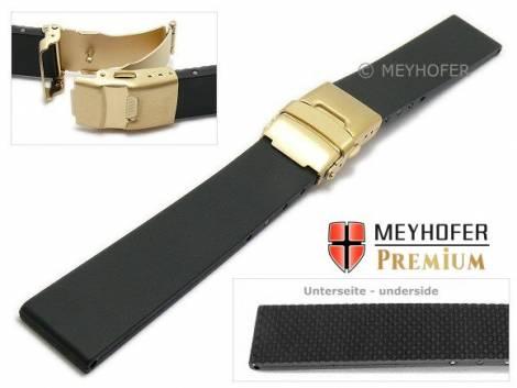 Watch strap -Cuxhaven- 24mm black caoutchouc with golden clasp by MEYHOFER (width of clasp 20 mm) - Bild vergrößern