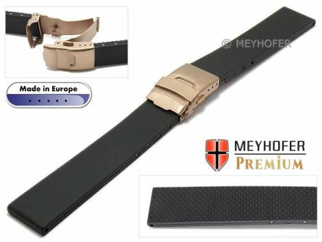 Watch strap -Sassnitz- 24mm black caoutchouc with rosé golden clasp by MEYHOFER (width of buckle 20 mm) - Bild vergrößern