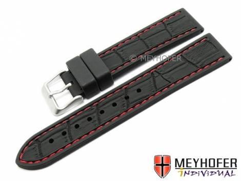 Watch strap -Kapstadt Special- 22mm black silicone alligator grain red stitching by MEYHOFER (width of buckle 20 mm) - Bild vergrößern