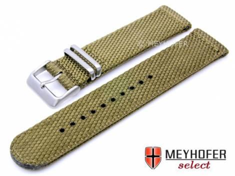 Watch strap -Apolda- 24mm olive nylon/textile military look NATO design by MEYHOFER - Bild vergrößern