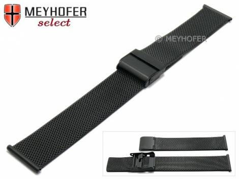 Watch strap -Winnipeg- 20mm black mesh very fine structure satined with slide clasp by MEYHOFER - Bild vergrößern