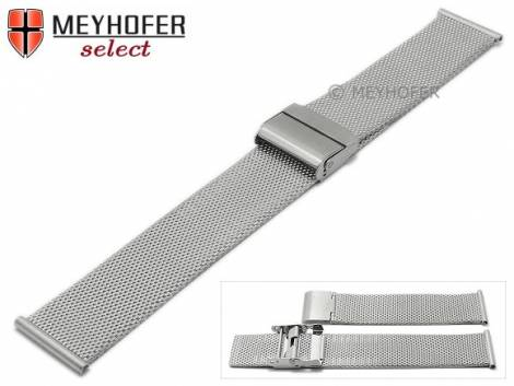 Watch strap -Winnipeg- 16mm silver mesh very fine structure satined with slide clasp by MEYHOFER - Bild vergrößern