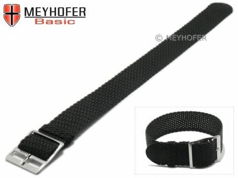Watch strap -Akron- 18mm black synthetic/textile one piece strap by MEYHOFER - Bild vergrößern