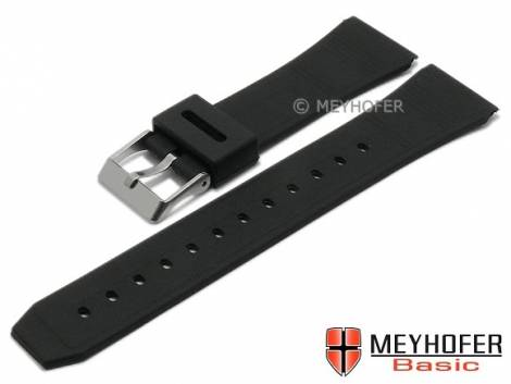MEYHOFER Basic watch strap -Markham- 22mm black synthetic with structure matt (width of buckle 18 mm) - Bild vergrößern