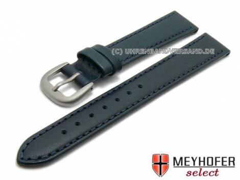 Watch strap -Kattavia- 12mm dark blue titanium buckle nappa leather by MEYHOFER (width of buckle 10 mm) - Bild vergrößern