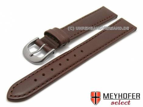 Watch strap -Kattavia- 12mm dark brown titanium buckle nappa leather by MEYHOFER (width of buckle 10 mm) - Bild vergrößern