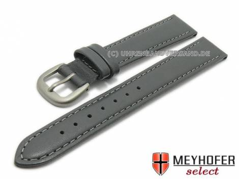Watch strap -Kattavia- 12mm grey titanium buckle nappa leather by MEYHOFER (width of buckle 10 mm) - Bild vergrößern
