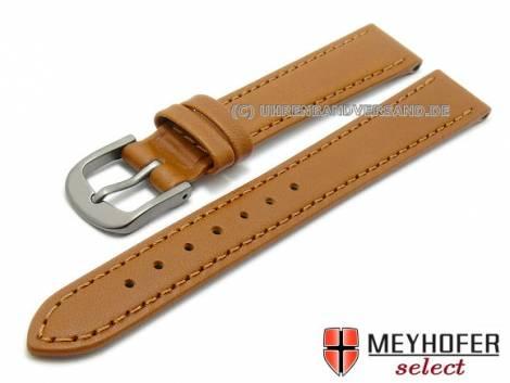 Watch strap -Kattavia- 12mm light brown titanium buckle nappa leather by MEYHOFER (width of buckle 10 mm) - Bild vergrößern