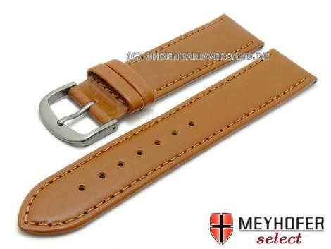 Watch strap -Kattavia- 16mm light brown titanium buckle nappa leather by MEYHOFER (width of buckle 14 mm) - Bild vergrößern