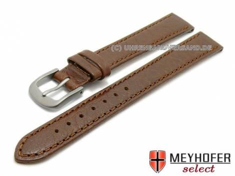 Watch strap XL -Koblenz- 12mm dark brown with titanium buckle grained matt by MEYHOFER (width of buckle 10 mm) - Bild vergrößern
