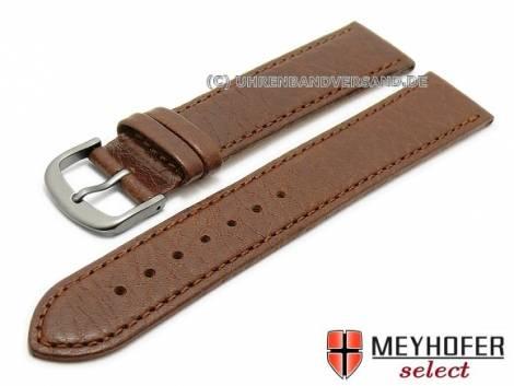 Watch strap XL -Koblenz- 16mm dark brown with titanium buckle grained matt by MEYHOFER (width of buckle 14 mm) - Bild vergrößern