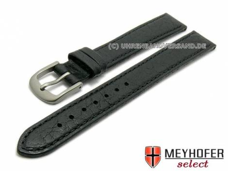 Watch strap XL -Koblenz- 12mm black with titanium buckle grained matt by MEYHOFER (width of buckle 10 mm) - Bild vergrößern