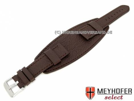 Watch strap -Bellano- 20mm dark brown leather grained stitched with leather pad by MEYHOFER (width of buckle 18 mm) - Bild vergrößern