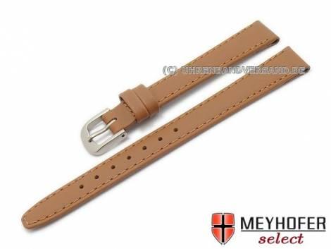 Watch strap -Levanto- 12mm light brown leather stitched with titanium buckle by MEYHOFER (width of buckle 10 mm) - Bild vergrößern