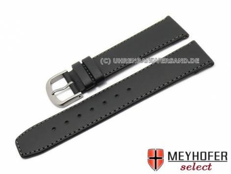 Watch strap -Levanto- 16mm black leather grey stitching with titanium buckle by MEYHOFER (width of buckle 14 mm) - Bild vergrößern
