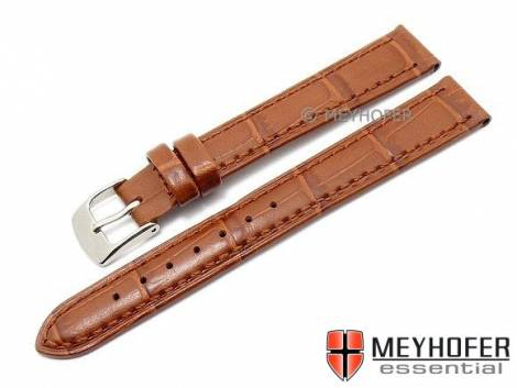 Watch strap -Davos- 14mm light brown leather alligator grain stitched by MEYHOFER (width of buckle 12 mm) - Bild vergrößern