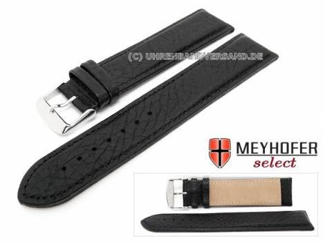 Watch strap XL -Calliano- 24mm black leather grained matt stitched by MEYHOFER (width of buckle 22 mm) - Bild vergrößern