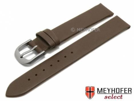 Watch strap -Nantes- 12mm dark brown calf nappa leather with titanium buckle smooth by MEYHOFER (width of buckle 12 mm) - Bild vergrößern