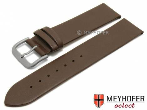 Watch strap -Nantes- 16mm dark brown calf nappa leather with titanium buckle smooth by MEYHOFER (width of buckle 16 mm) - Bild vergrößern