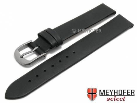 Watch strap -Nantes- 10mm black calf nappa leather with titanium buckle smooth by MEYHOFER (width of buckle 10 mm) - Bild vergrößern
