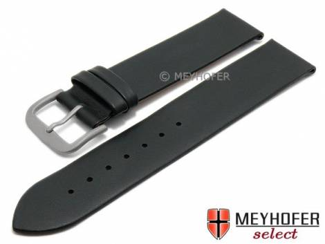 Watch strap XL -Toulon- 16mm black calf nappa leather with titanium buckle smooth by MEYHOFER (width of buckle 16 mm) - Bild vergrößern