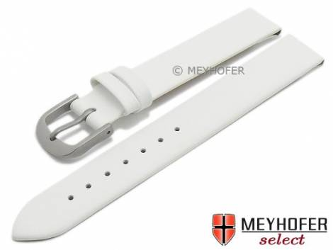 Watch strap -Nantes- 12mm white calf nappa leather with titanium buckle smooth by MEYHOFER (width of buckle 12 mm) - Bild vergrößern