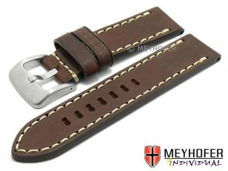 Watch strap -Arona- 22mm dark brown saddle leather smooth light stitching by MEYHOFER (width of buckle 22 mm) - Bild vergrößern