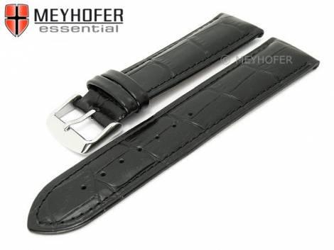 Watch strap XL -Palmdale- 22mm black leather alligator grain stitched by MEYHOFER (width of buckle 20 mm) - Bild vergrößern
