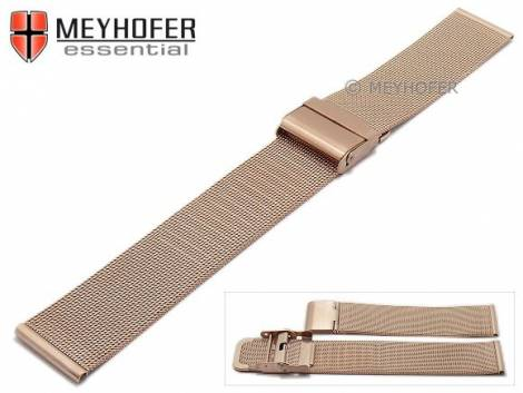 Watch strap -Villach- 16mm rosé golden mesh fine structure brushed with slide clasp by MEYHOFER - Bild vergrößern