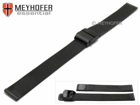 Watch strap -Villach- 14mm black mesh fine structure brushed with slide clasp by MEYHOFER - Bild vergrößern