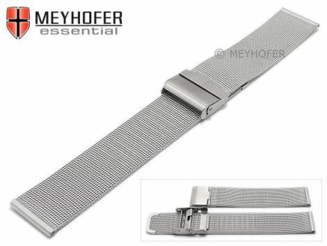 Watch strap -Villach- 18mm silver mesh fine structure brushed with slide clasp by MEYHOFER - Bild vergrößern