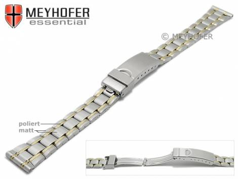 Watch strap -Greenville- 14mm dual tone stainless steel folded partly polished with clasp by MEYHOFER - Bild vergrößern