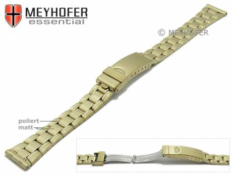 Watch strap -Greenville- 14mm golden stainless steel folded partly polished with clasp by MEYHOFER - Bild vergrößern