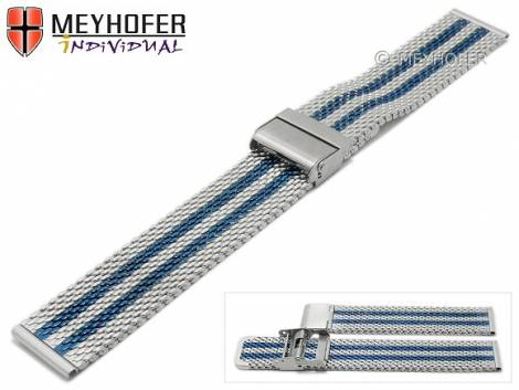 Watch strap -Evansville- 24mm silver/blue mesh medium structure polished with slide clasp by MEYHOFER - Bild vergrößern