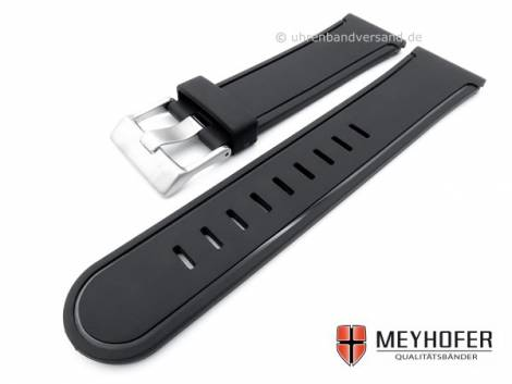 Watch strap -Royan- 24mm black rubber smooth matt without stitching by MEYHOFER (width of buckle 22 mm) - Bild vergrößern