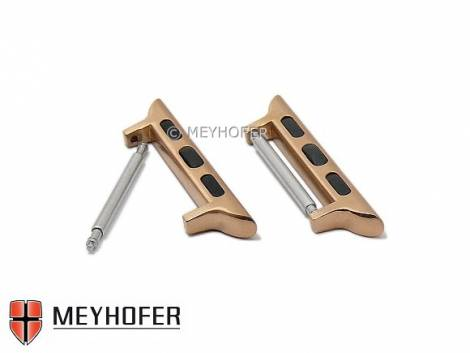 1 Pair adapter -Cupertino- 42/44mm rosé golden one pair for APPLE Smartwatches for lug width 24 mm by MEYHOFER - Bild vergrößern