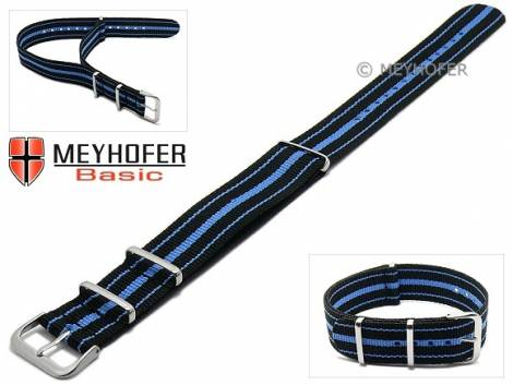 MEYHOFER Basic watch strap -Abilene- 22mm black synthtic/textile blue stripes 3 metal loops one-piece strap - Bild vergrößern