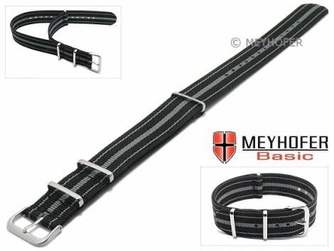 MEYHOFER Basic watch strap -Abilene- 20mm black synthtic/textile grey stripes 3 metal loops one-piece strap - Bild vergrößern
