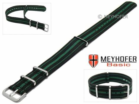 MEYHOFER Basic watch strap -Abilene- 22mm black synthtic/textile green stripes 3 metal loops one-piece strap - Bild vergrößern
