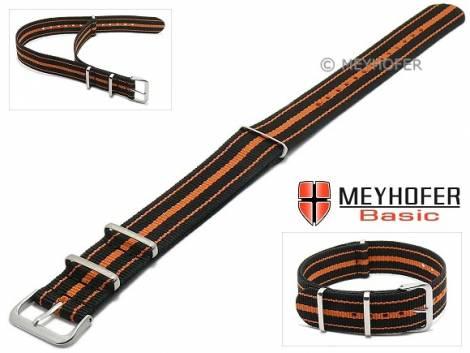 MEYHOFER Basic watch strap -Abilene- 22mm black synthtic/textile orange stripes 3 metal loops one-piece strap - Bild vergrößern