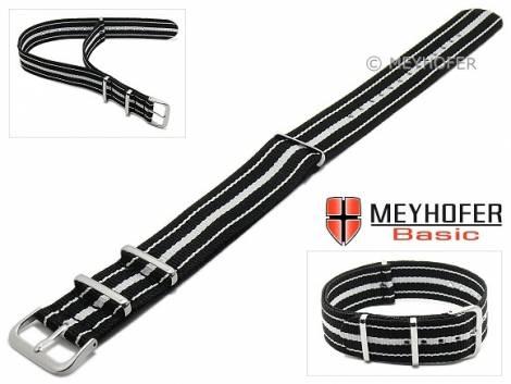 MEYHOFER Basic watch strap -Abilene- 22mm black synthtic/textile white stripes 3 metal loops one-piece strap - Bild vergrößern