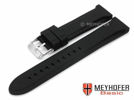 MEYHOFER Basic watch strap -Peoria- 20mm black silicone smooth matt (width of buckle 18 mm) - Bild vergrößern