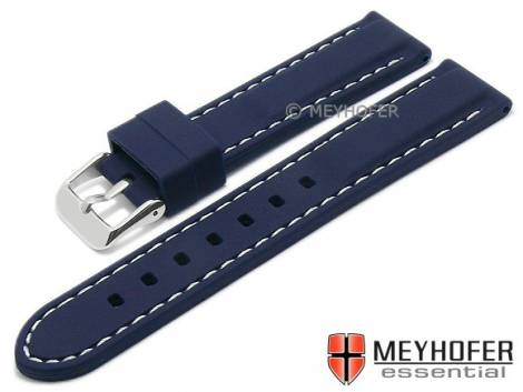 Watch strap -Brossard Sport- 22mm dark blue silicone smooth matt light stitching by MEYHOFER (width of buckle 20 mm) - Bild vergrößern