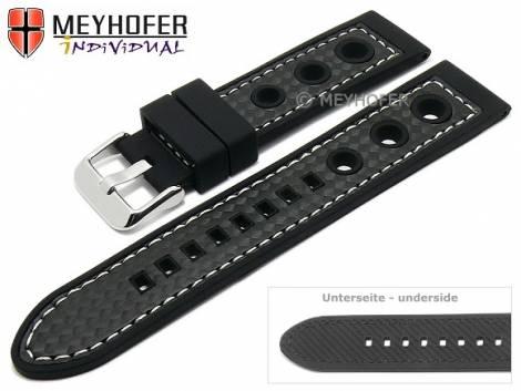Watch strap -Tulsa- 24mm black silicone carbon optics racing look light stitching by MEYHOFER (width of buckle 22 mm) - Bild vergrößern