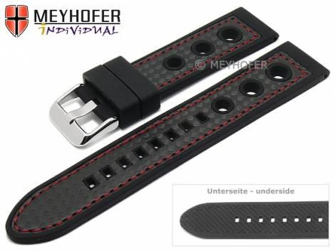 Watch strap -Tulsa- 24mm black silicone carbon optics racing look red stitching by MEYHOFER (width of buckle 22 mm) - Bild vergrößern