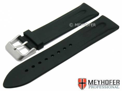 Watch strap -Ebikon- 19mm black caoutchouc matt with structure by MEYHOFER (width of buckle 18 mm) - Bild vergrößern