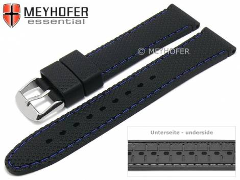 Watch strap -Gatlinburg Special- 16mm black silicone structure matt blue stitching by MEYHOFER (width of buckle 16 mm) - Bild vergrößern