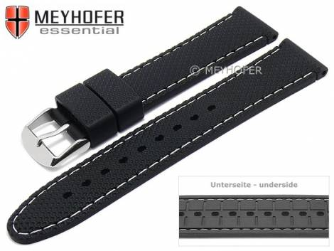 Watch strap -Gatlinburg- 16mm black silicone structure matt light stitching by MEYHOFER (width of buckle 16 mm) - Bild vergrößern
